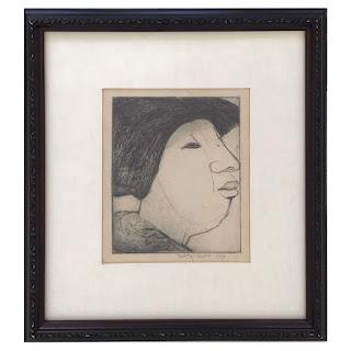 Dorothy Cohen Signed Profile Portrait Etching