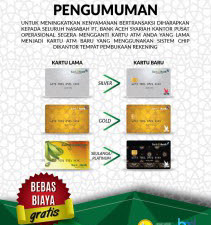 Nasabah Bank Aceh Diminta Ganti Kantu ATM Sebelum 31 Oktober 2021