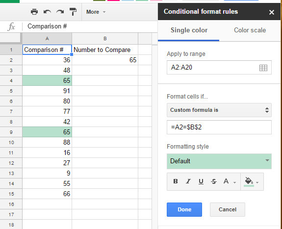 Google Sheets Conditional Formatting Reference - Docs