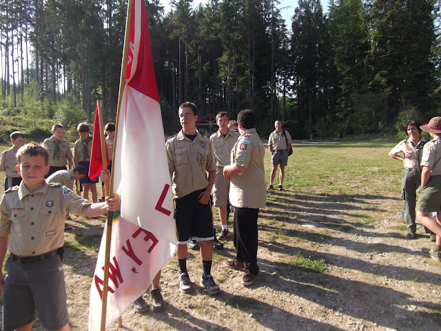 First flag assembly.   The troop brought their flag for all flag ceremonies....the only ones to do such!