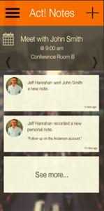 Act! Companion mobile app - screen shot