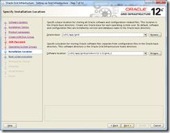 Oracle Grid Infrastructure 12c Installer - Installation Location