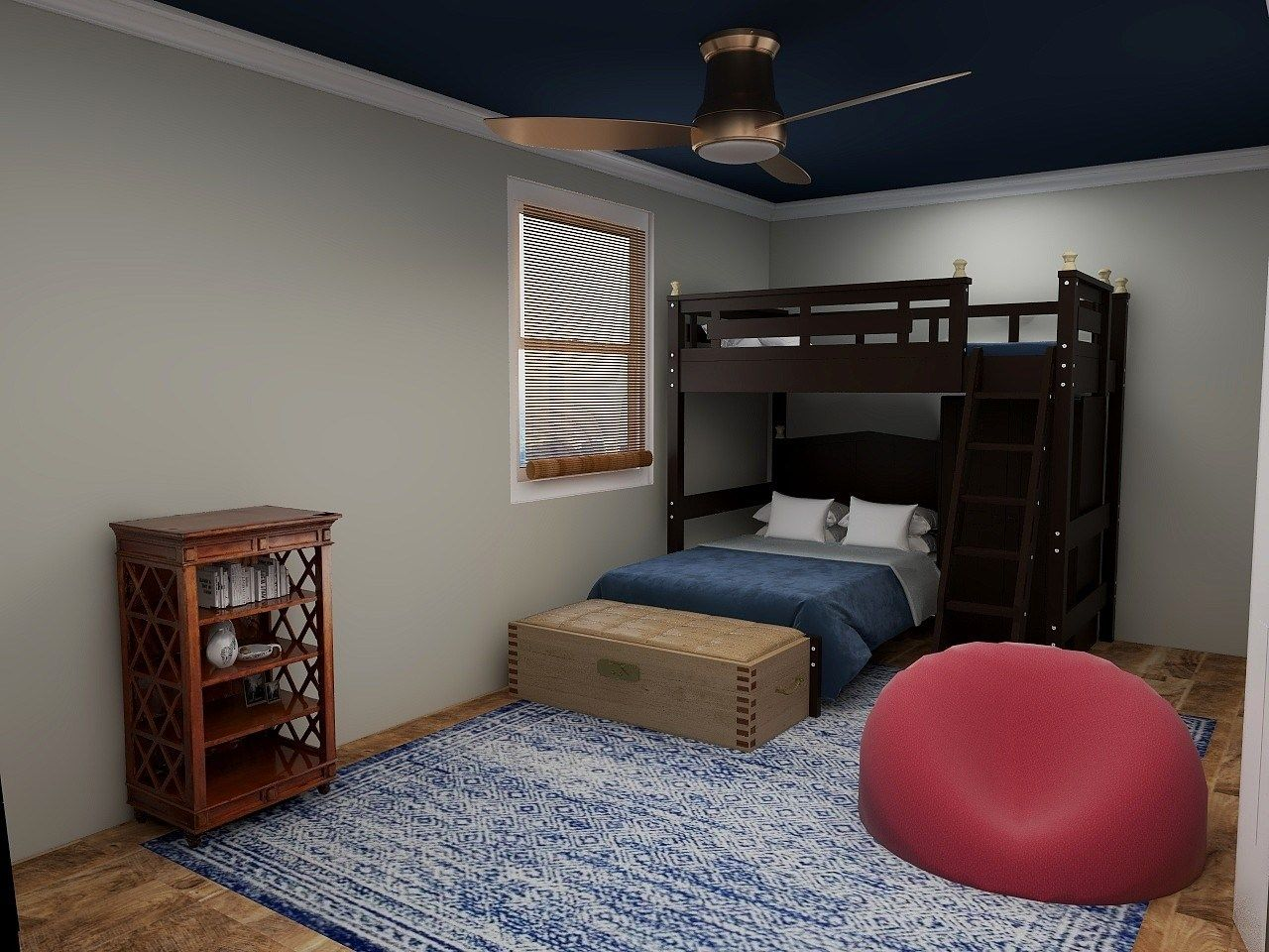 blue and lively child's bedroom bunk beds oversized rug in navy and white bean bag chair