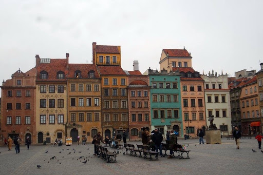 Colourful building in the Old Town Market Place of Warsaw