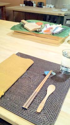 Place setting at Nodoguro Hardcore Sushi Dinner