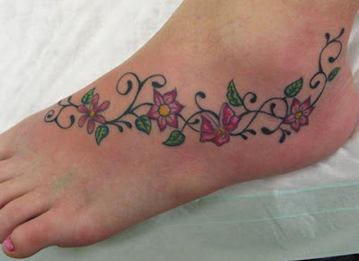 Flower Tattoo, Tattoo on Foot