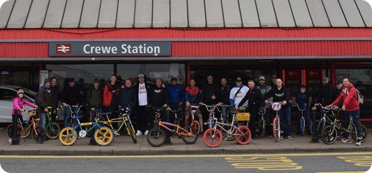The start at Crewe railway station