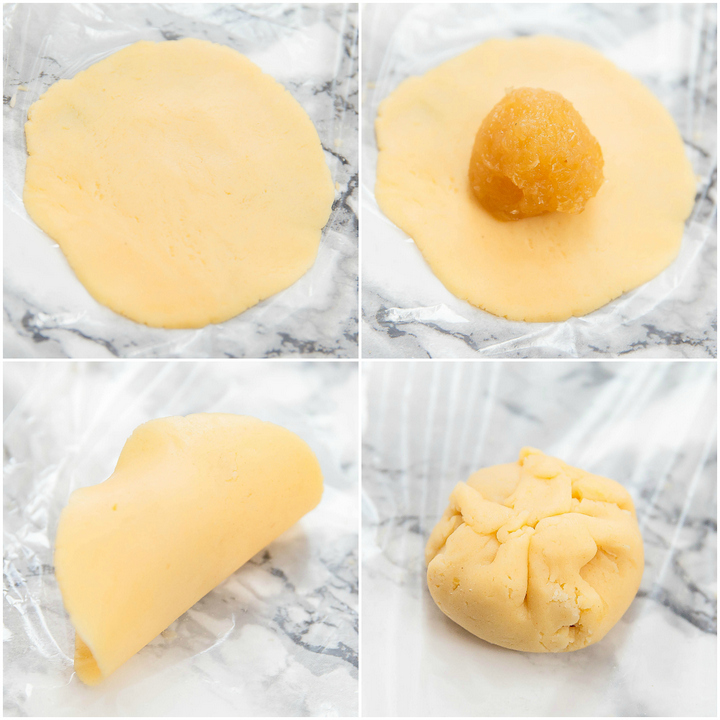photo collage showing how to wrap the dough around the filling