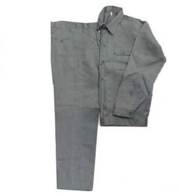 Quần áo bảo hộ lao động vải kaki dày màu ghi chì - QAK0013