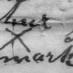 Jane Ramsey Stamp, her mark (?) Wife of Ananias Stamp and the daughter of Elizabeth Gleaves Ramsey who was the daughter of William Benjamin Gleaves