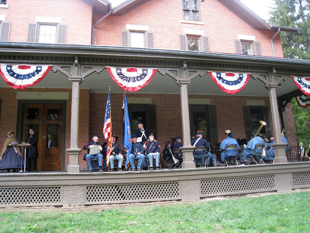 5th MI entertains from the veranda of President Rutherford B. Hayes
