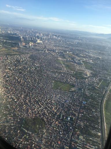 Vista sobre Manila do avião