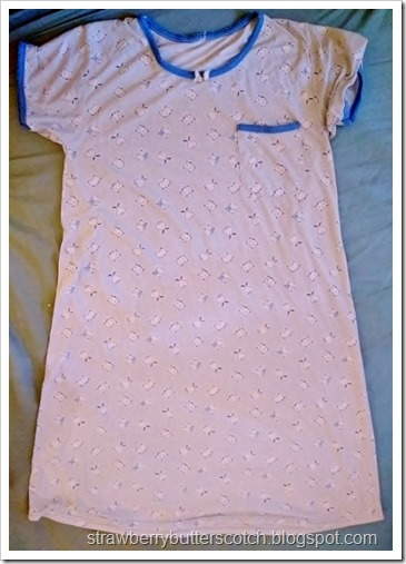 A t-shirt style night gown.  It will be turned into a cute pajama set.