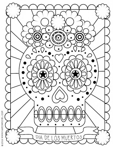 Dia De Los Muertos Coloring Sheet For Kids