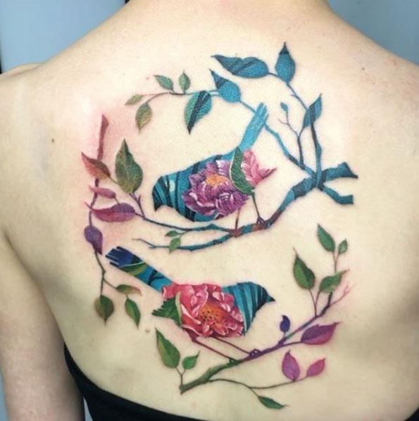 Este épico de dupla exposição de aves da tatuagem