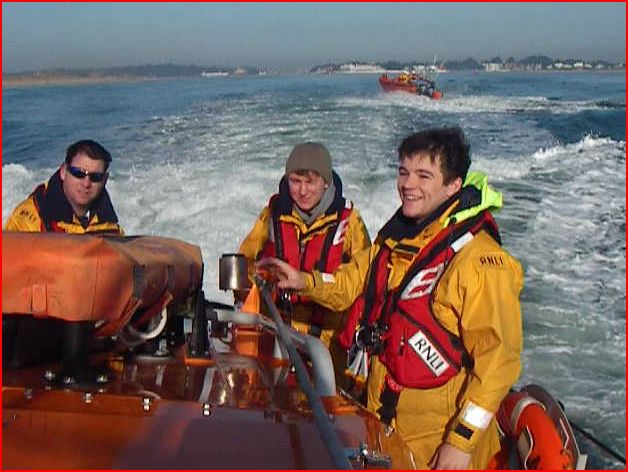 New trainees Lewis, Joe and Graham enjoying a familiarisation training exercise Photo (from video): RNLI/Anne Millman