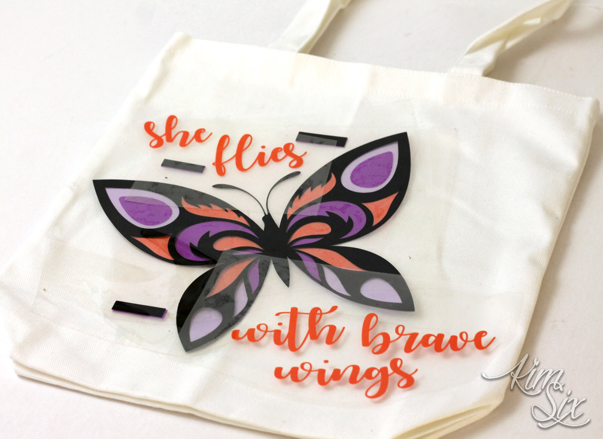 With brave wings she flies butterfly bag