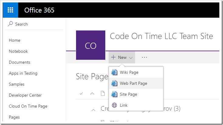 Adding a new Web Part page to the SharePoint site.