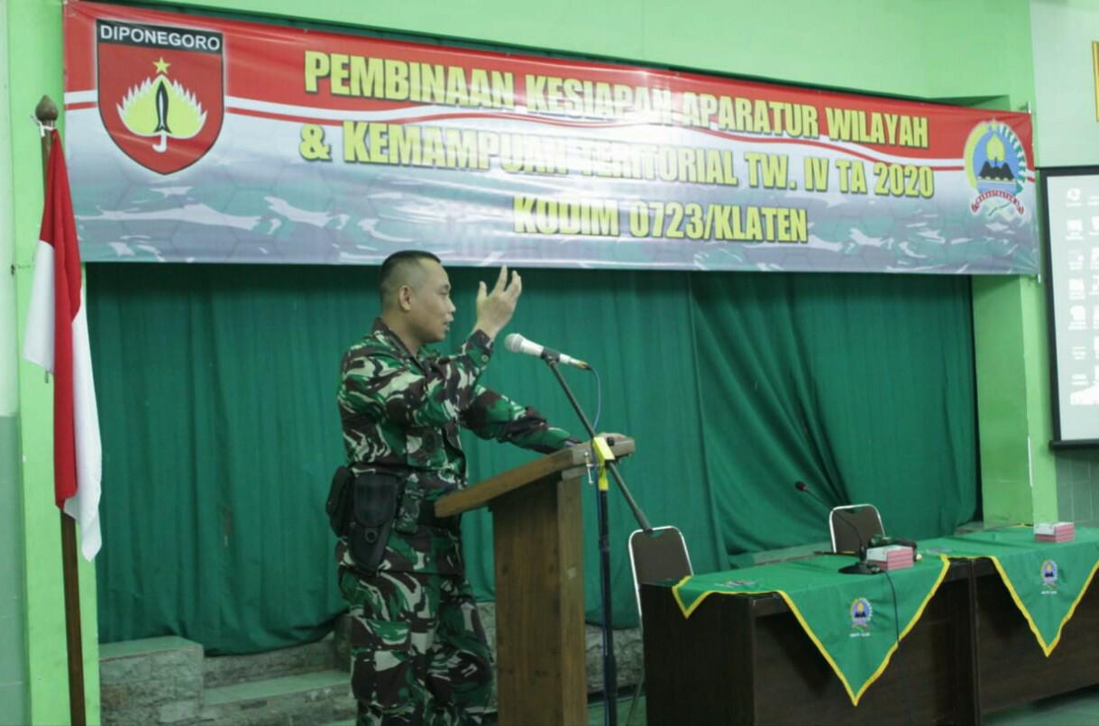 Dandim 0723/Klaten Buka Kegiatan Pembinaan Kesiapan Aparat Kewilayahan dan Kemampuan Teritorial TW IV Th. 2020