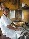 Making chapattis in the project kitchen