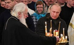 Vladimir Putin attended Christmas mass at Spassky Cathedral in St George's (Yuriev) Monastery.