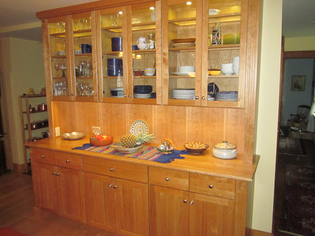 Natural cherry hutch & top, LED lights