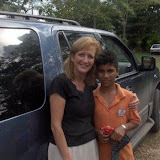 Fellow missionary Sandy Kazim is pictured here with one of the children.