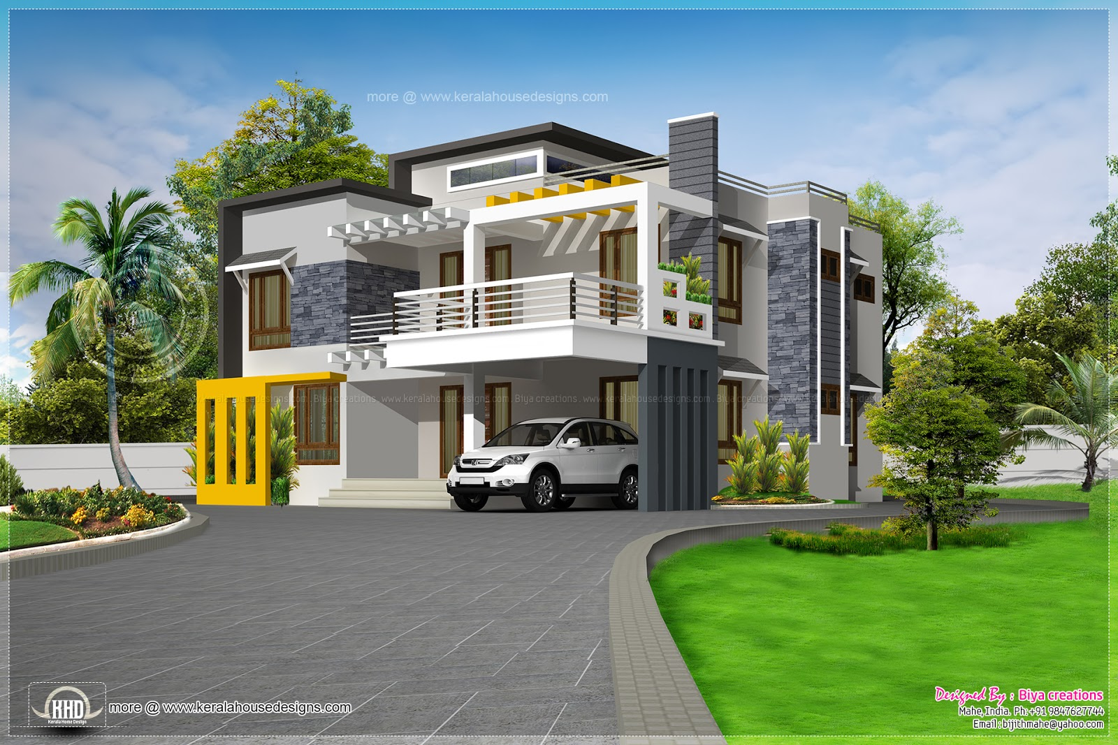 Beautiful looking contemporary luxury house kerala home for Modern beautiful house
