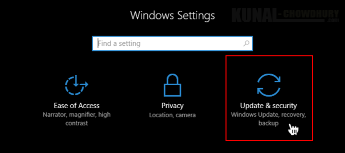 Windows 10 Settings - Update and Security (www.kunal-chowdhury.com)