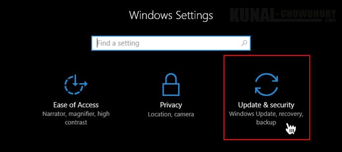 Windows 10 Settings - Update and Security (www.kunal-chowdhury.com)