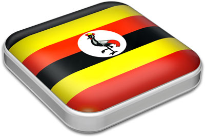 Flag of Uganda with metallic square frame
