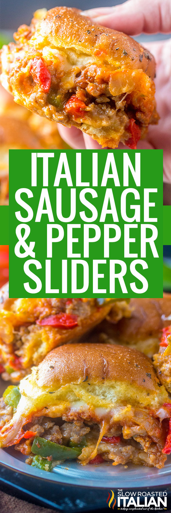 Italian Sliders (Sausage and Pepper) close up