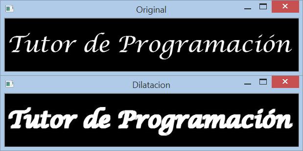 OpenCV operación de dilatación (dilate)