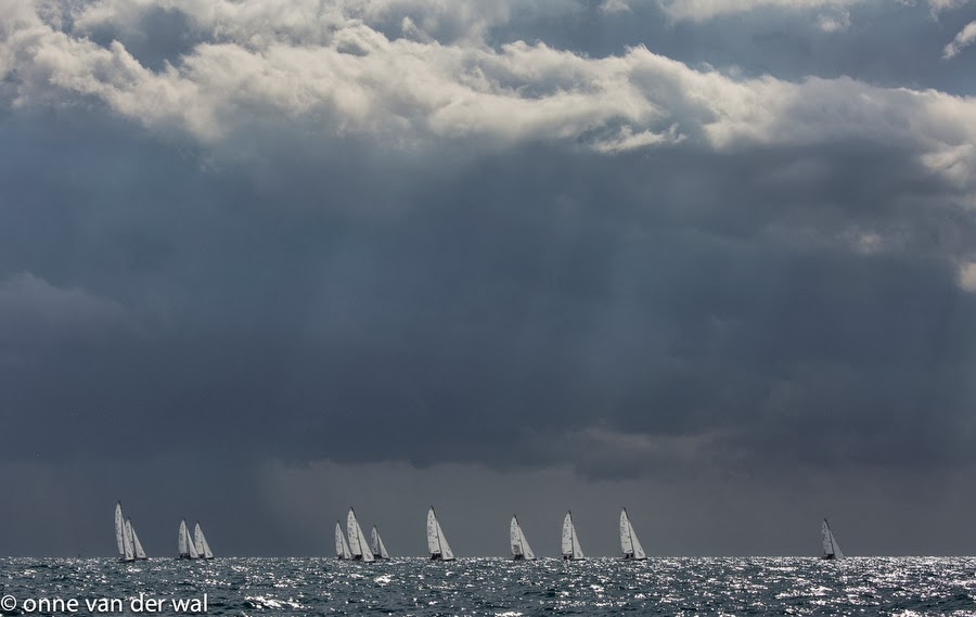 J/70s sailing under squally skies off Key West