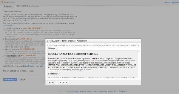 Google Analytics Accept Terms
