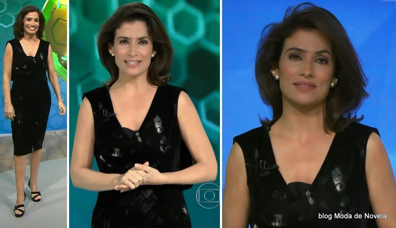 moda do programa Fantástico - vestido da Renata Vasconcellos dia 15 de junho