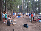Talking about Mexican wolf recovery and the Paseo del Lobo with the Bosque High School Cross Country Camp (Photo by J. Davis)