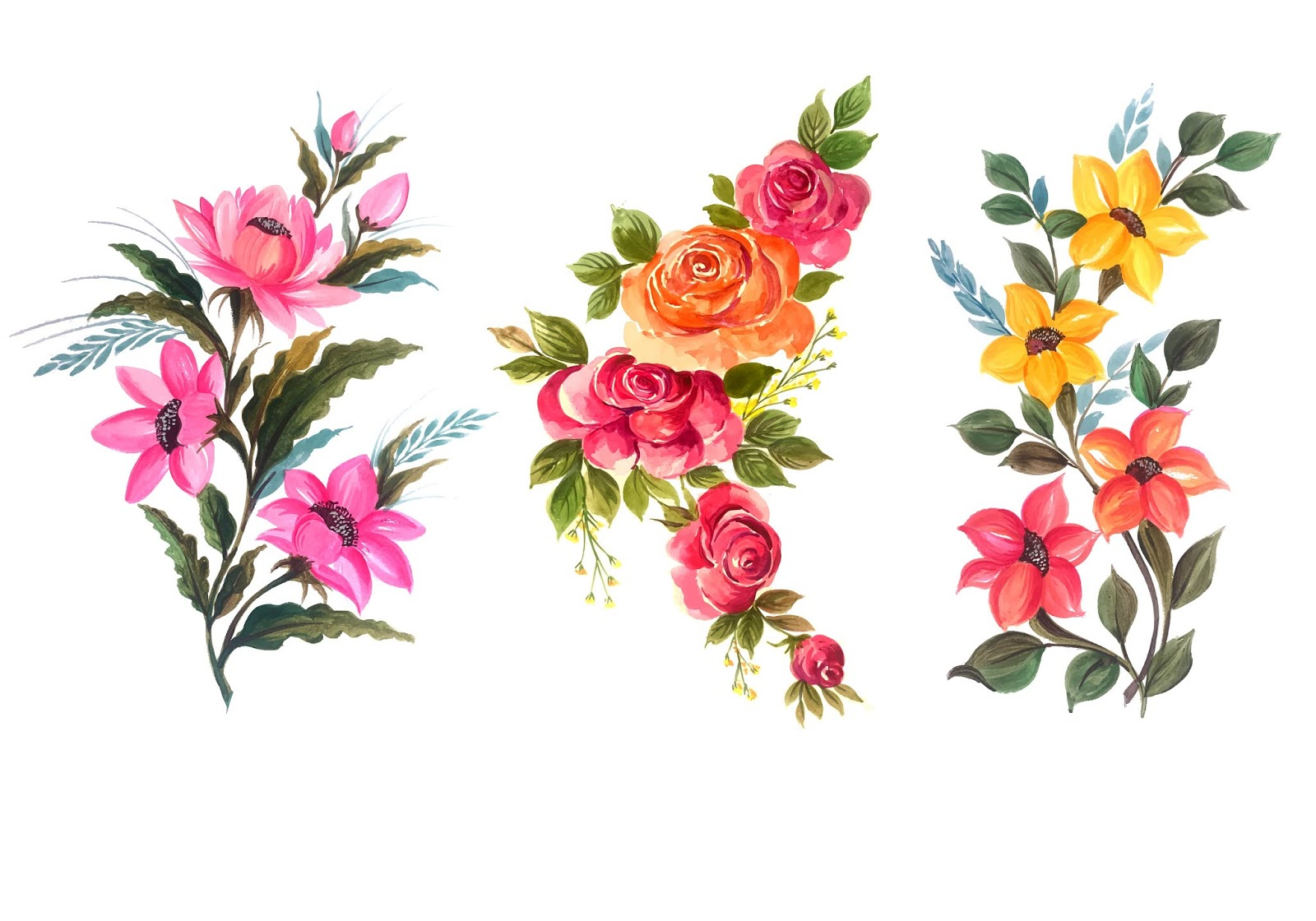 Beautiful Bunch Floral Set Vector Illustration Free Download Vector CDR, AI, EPS and PNG Formats