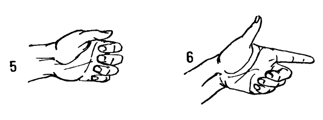 5 Попеременно сгибать и разгибать две первые фаланги пальцев. 6 Развести прямые пальцы и последовательно сгибать пальцы в кулак.
