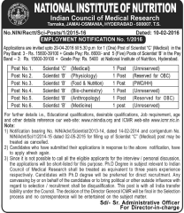 National-Institute-of-Nutrition-Scientist-Jobs-2016