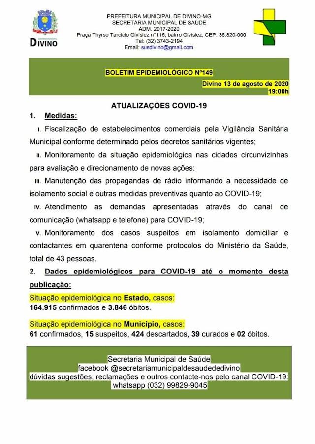 Divino: Boletim epidemiológico COVID-19 - 13 de Agosto de 2020