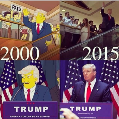 Simpsons predicted 15 years ago that Donald Trump will win the election compaign and will become the US President.
