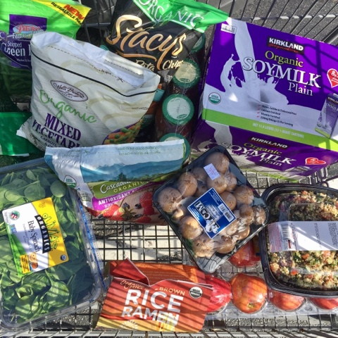 vegan costco shopping vegetables fruit pasta grains beans healthy