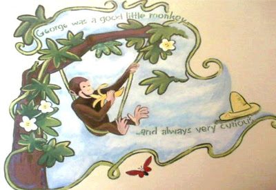 Curious George painting in a storybook themed room.