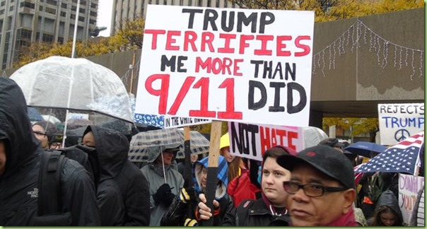 Anti-Trump-protest worse than hitler and 911