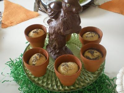 Easter rolls baked in mini terra cotta pots