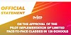 On the approval of the pilot implementation of limited face-to-face classes in 120 schools