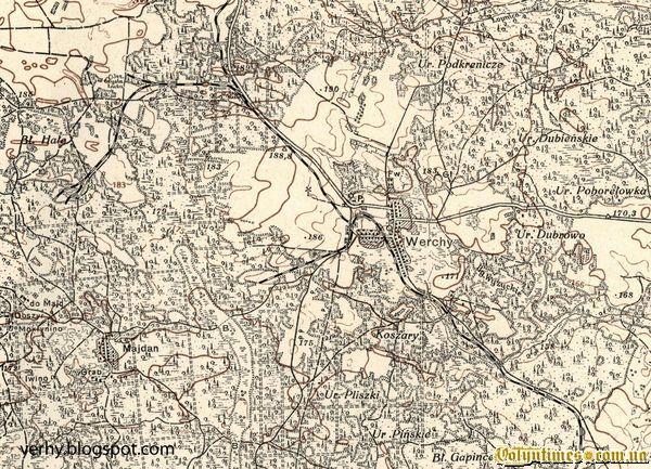 Мапа 1930 року з позначенням полотна вузькоколійки