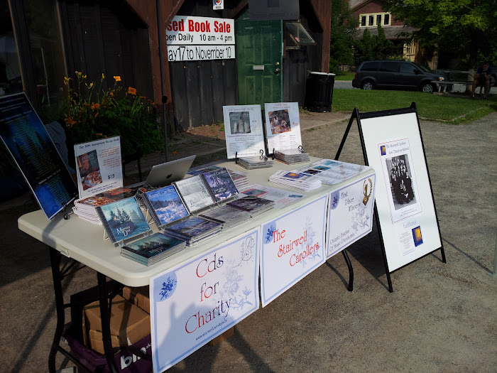 Stairwell Caroller booth at the Manotick Farmers Market