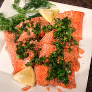 Baked Salmon with Lemon and Herbs.